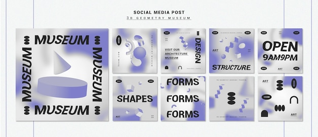 3d geometrical shapes instagram post collection Free Psd
