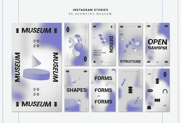 3d geometrical shapes instagram stories collection Free Psd