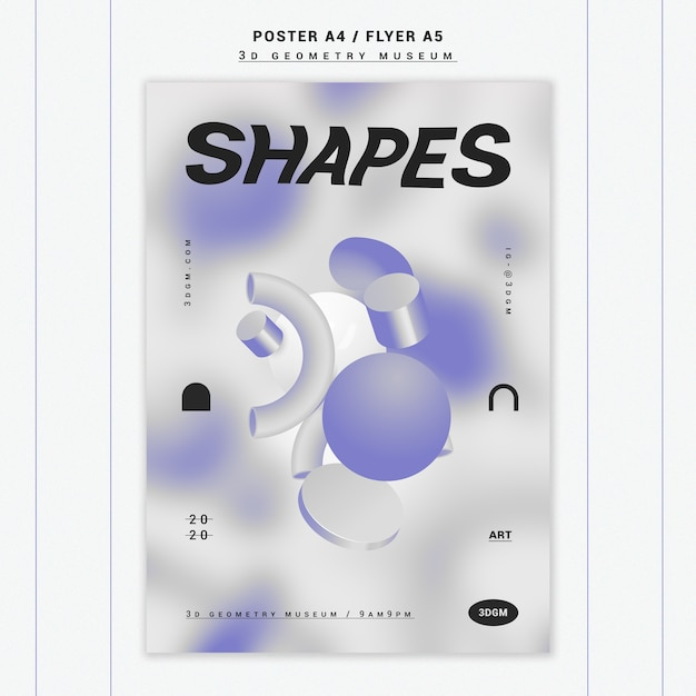 3d geometrical shapes poster template Free Psd