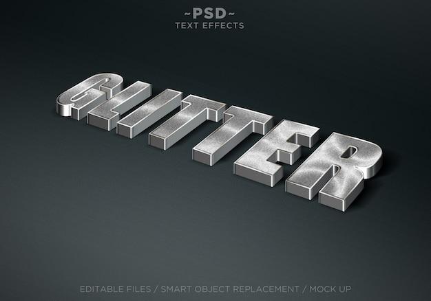 Редактируемые текстовые эффекты в стиле 3d с блестками Premium Psd