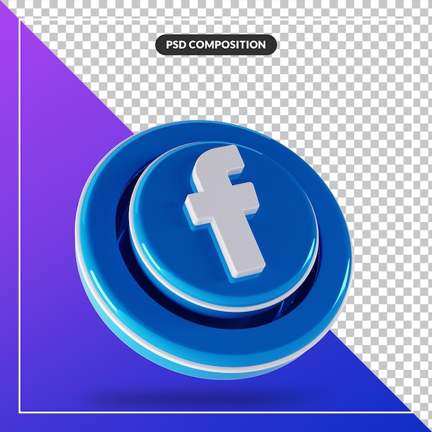 3d光沢のあるfacebookのロゴの分離されたデザイン Premium Psd