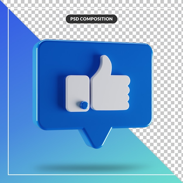 3d glossy like facebook icon isolated Premium Psd