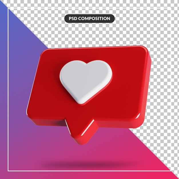 3d glossy like instagram icon isolated Premium Psd