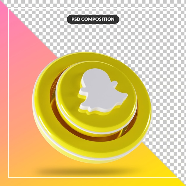 3d光沢のあるsnapchatロゴ分離デザイン Premium Psd
