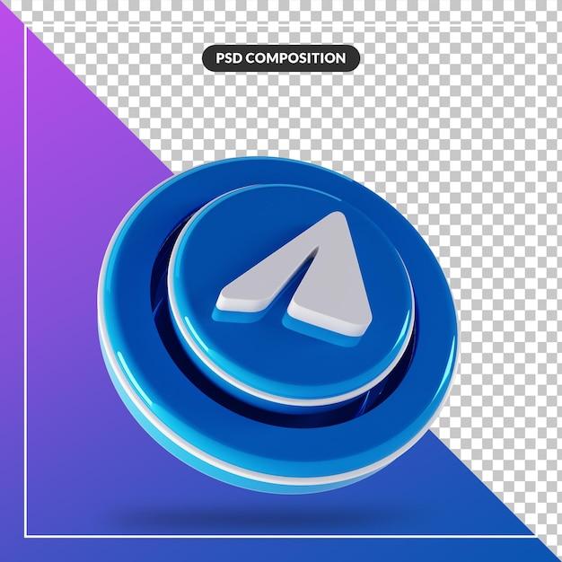 3d光沢のある電報ロゴ分離デザイン Premium Psd