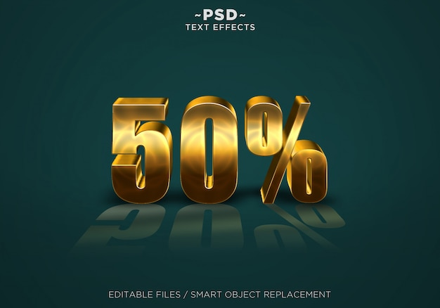3d gold discount 50% effects editable text Premium Psd