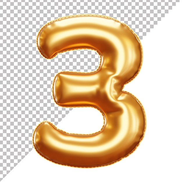 3d gold helium foil balloon number 3 Premium Psd
