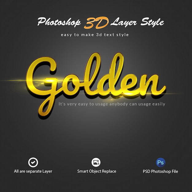 3d gold photoshop layer style text effects Premium Psd