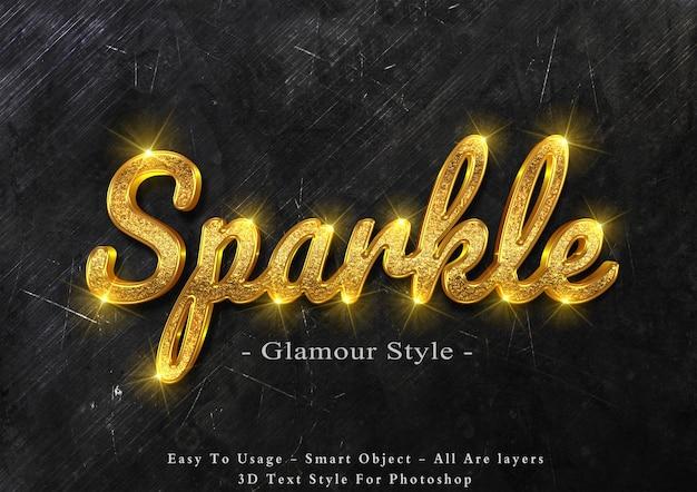 3d gold sparkle text style effect Premium Psd