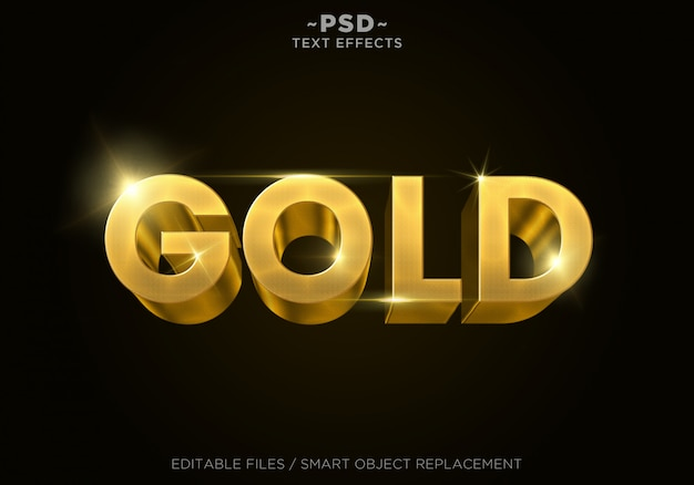 3d gold style 4 effects editable text Premium Psd