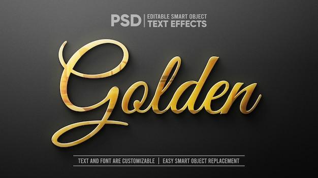 3d золотой текст на белом мраморе редактируемый макет смарт-объекта Premium Psd