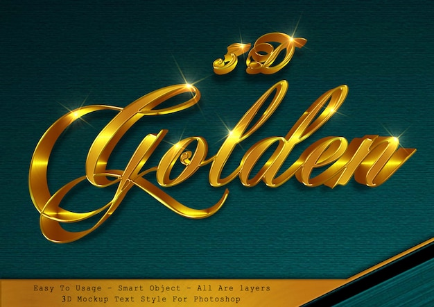 3d gold text style effect Premium Psd