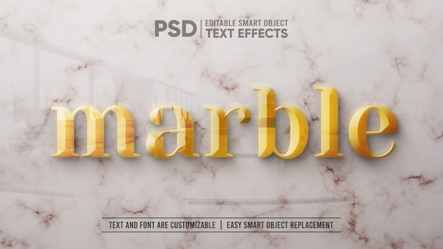 3d gold text on white marble editable smart object mockup Premium Psd