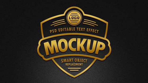 3d golden badge text effects mockup Premium Psd