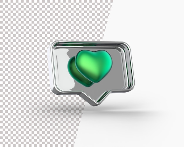 3d golden heart on a notification icon Free Psd