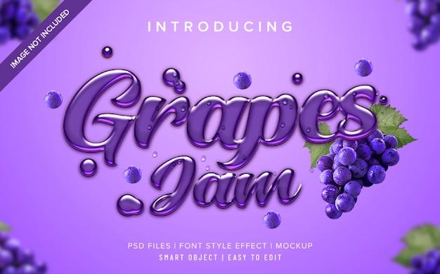 Шаблон эффекта стиля шрифта 3d grapes jam Premium Psd