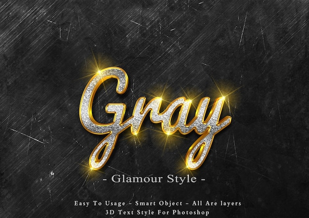 3d gray glamour text style effect Premium Psd