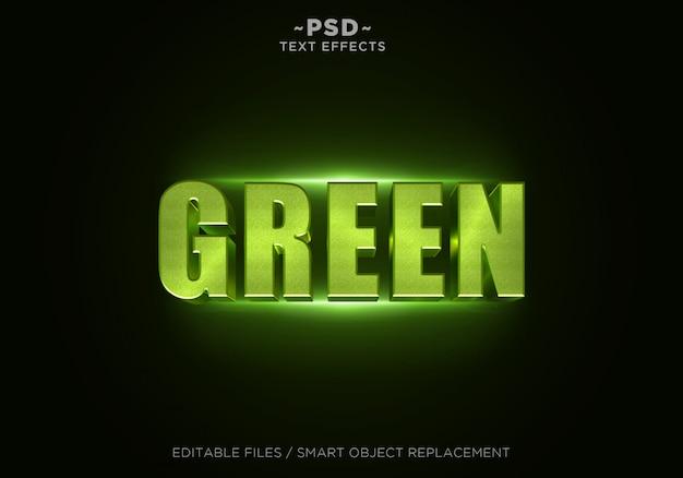 3d 녹색 반짝이 효과 편집 가능한 텍스트 프리미엄 PSD 파일