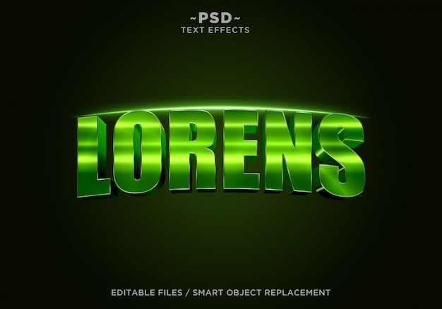 3d Green Lorens 영화 효과 편집 가능한 텍스트 프리미엄 PSD 파일