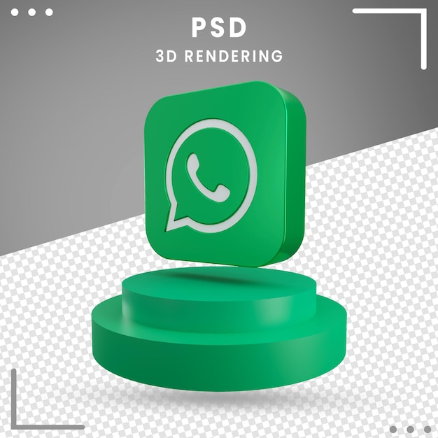 3d green rotated logo icon whatsapp isolated Premium Psd