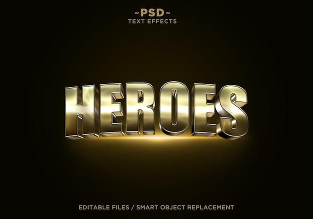 3dヒーロー黄金効果編集可能なテキスト Premium Psd