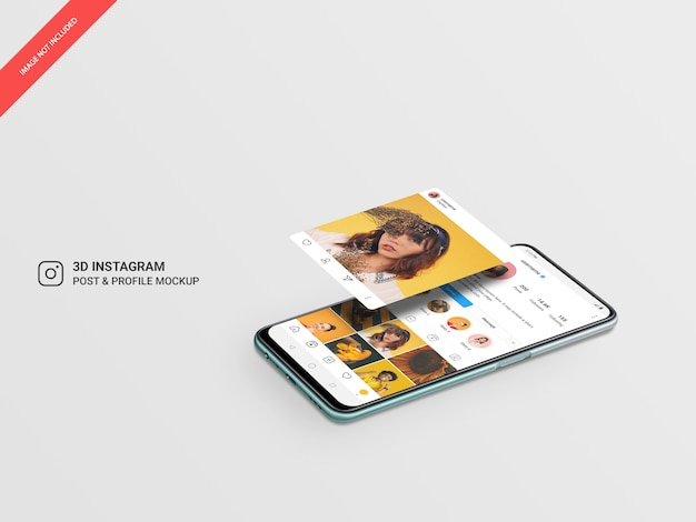 3d hovering instagram post and profile on horizontal mobile mockup Premium Psd