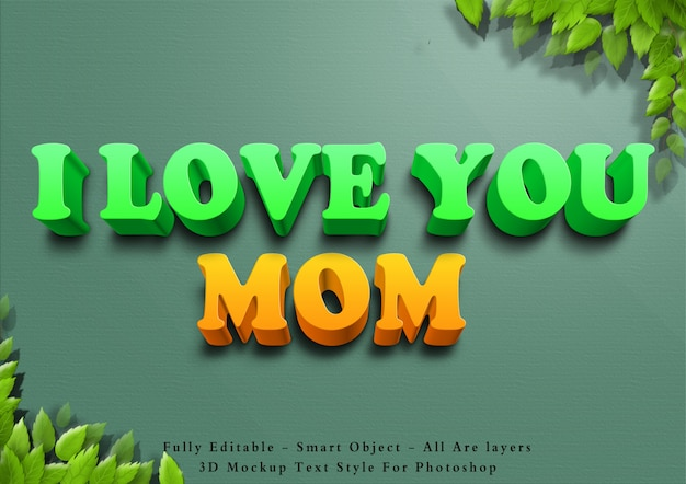 3d i love you mom text style effect Premium Psd