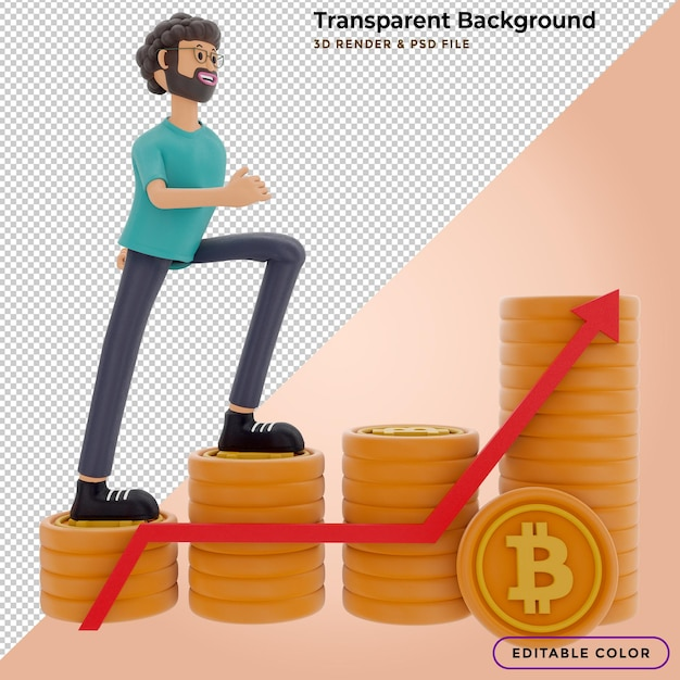 3d illustration character goes climb to success with a stack of bitcoin Premium Psd