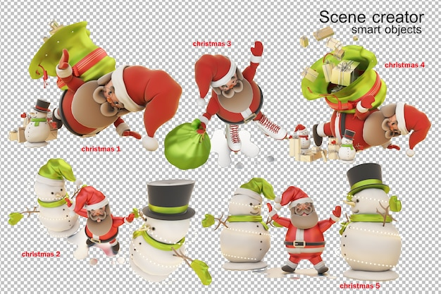 3d illustration christmas day with santa claus Premium Psd