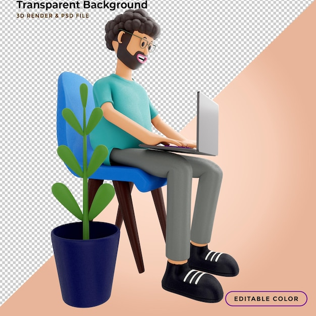 3d illustration. male sits is resting in a chair and watching a video on a laptop Premium Psd