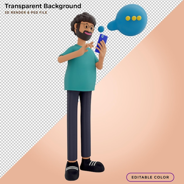 3d illustration of man chatting on the smartphone and speech bubble Premium Psd