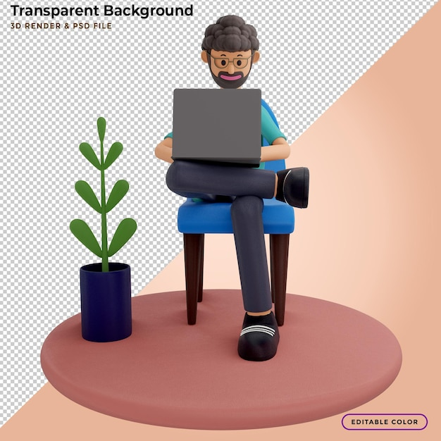 3d illustration of man with laptop sitting in armchair Premium Psd