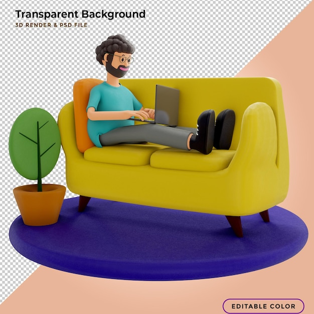 3d illustration man with laptops lying on the couch . 3d illustration. Premium Psd