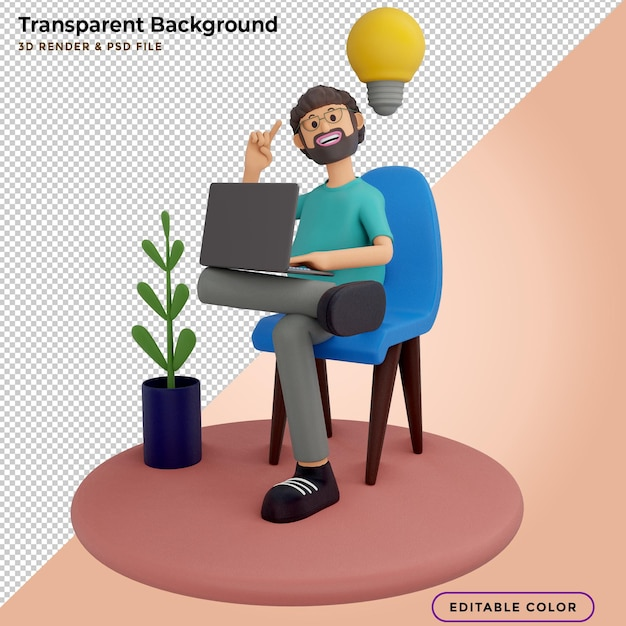 3d illustration men with laptops, sitting in armchairs and creating new innovation ideas Premium Psd