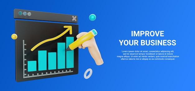 3d иллюстрации диаграммы или диаграммы в сети с рукой, держащей карандаш Premium Psd