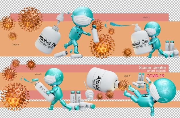 3d иллюстрации людей, борющихся с вирусом короны Premium Psd