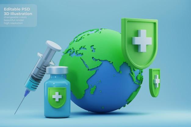 코로나 바이러스 질병으로부터 백신 보호를 받고있는 지구의 3d 일러스트 프리미엄 PSD 파일