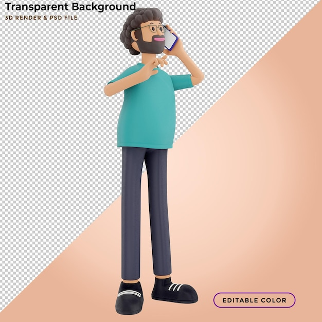 3d illustration of standing happy man talking on the phone Premium Psd