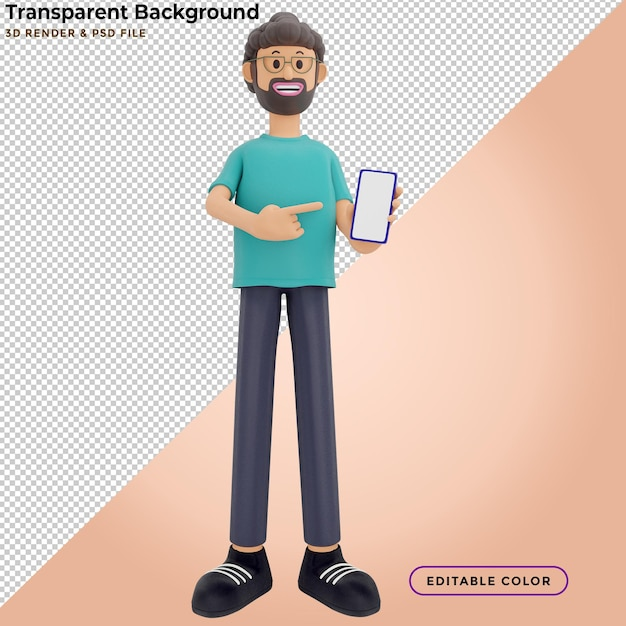3d illustration of standing man holding smartphone and showing blank screen Premium Psd