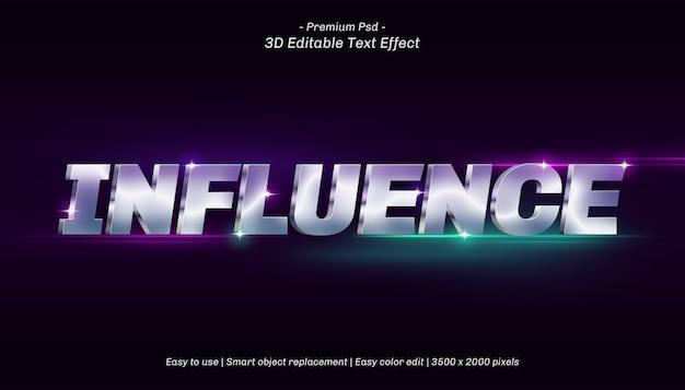 3d influence editable text effect Premium Psd