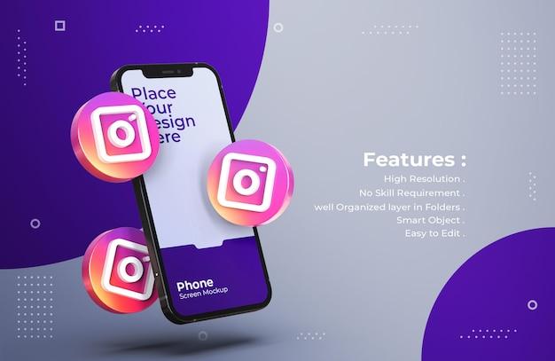 모바일 화면 모형이있는 3d Instagram 아이콘 프리미엄 PSD 파일