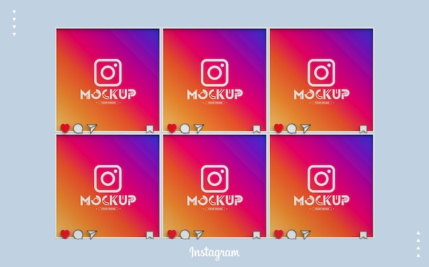 3d instagram mockup with feed screens Premium Psd
