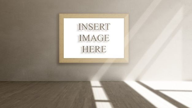 3d interior mock up with blank picture frame Free Psd