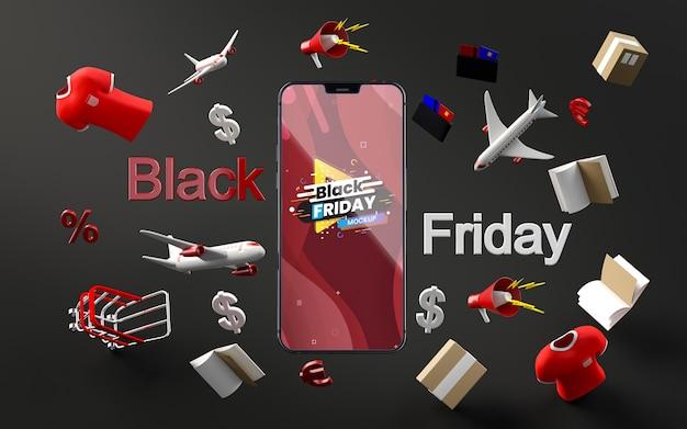 Oggetti 3d vendita venerdì nero mock-up sfondo nero Psd Gratuite