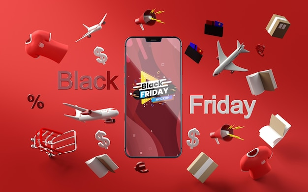 3d items black friday sale mock-up red background Free Psd