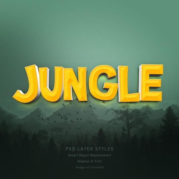 3d jungle text style effect for font Premium Psd