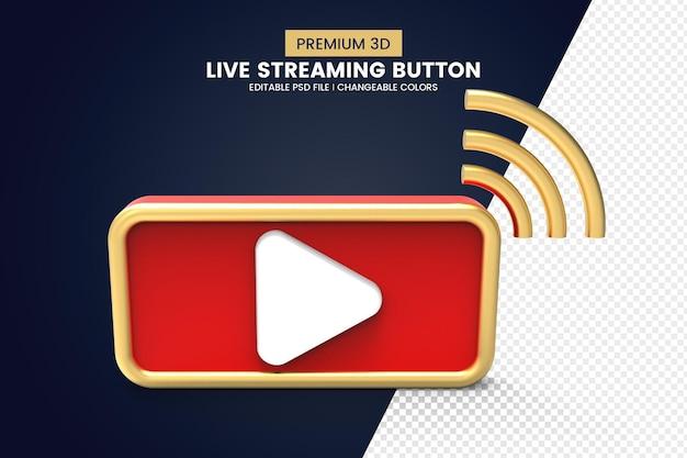 3d live streaming button design Premium Psd
