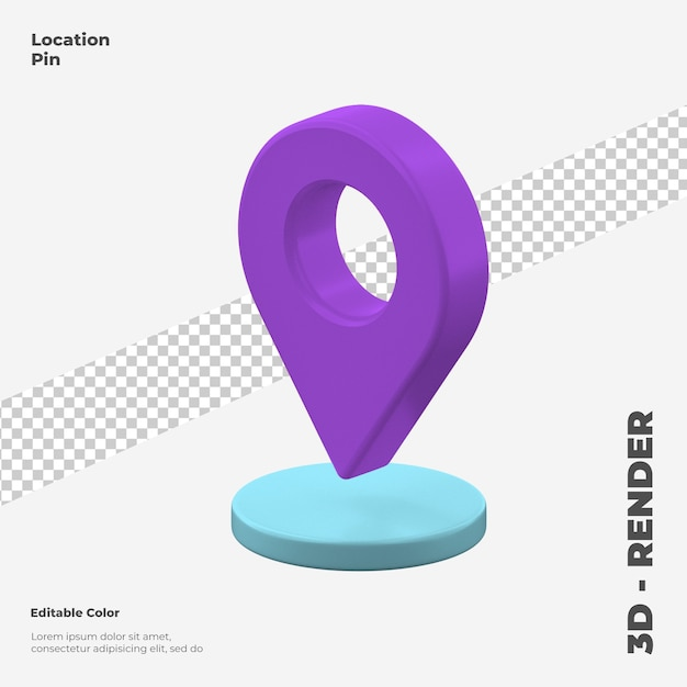 3d location pin icon mockup isolated Premium Psd