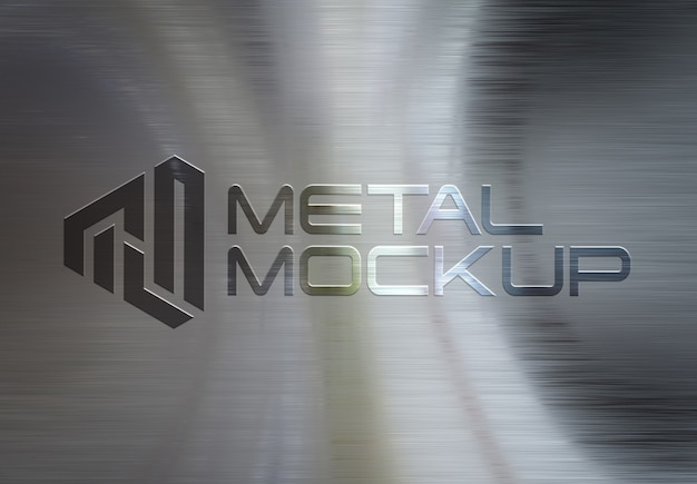 3d logo on metal brushed plate mockup Premium Psd