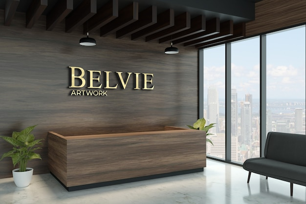 3d logo mockup on exotic wooden wall Premium Psd